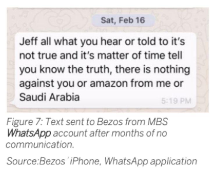 Whatsappfoto uit het rapport van FTI Consulting, het adviesbureau dat Jeff Bezos inschakelde om te onderzoeken of zijn telefoon was gehackt. Beeld null