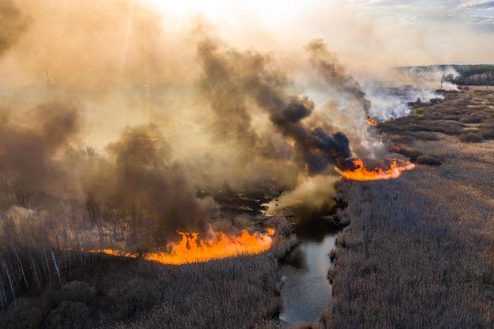Op luchtfoto's is te zien dat een van de branden oprukt naar de centrale en nog lang niet onder controle is.