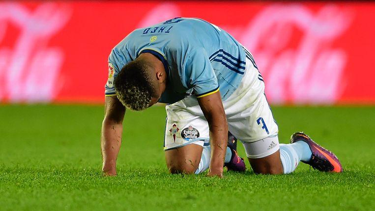 Théo Bongonda ging met Celta zwaar onderuit op het veld van Villarreal. Beeld AFP