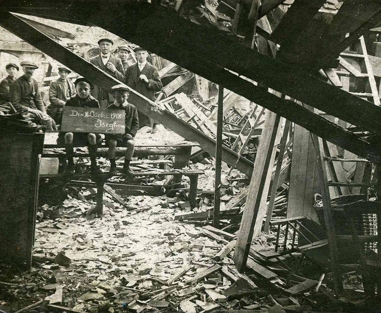 Oorlogsschade in Izegem in 1918