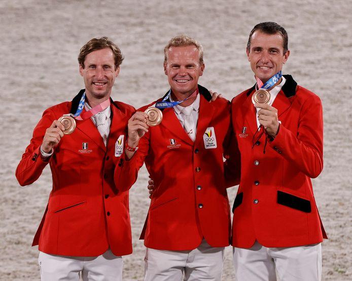 Het Belgische trio dat brons pakte, met rechts Grégory Wathelet