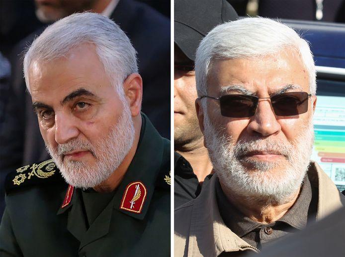De Iraanse generaal Qassem Soleimani (links) en de Iraakse militieleider Abu Mahdi al-Muhandisis zijn bij de raketaanval op de luchthaven van Bagdad omgekomen.