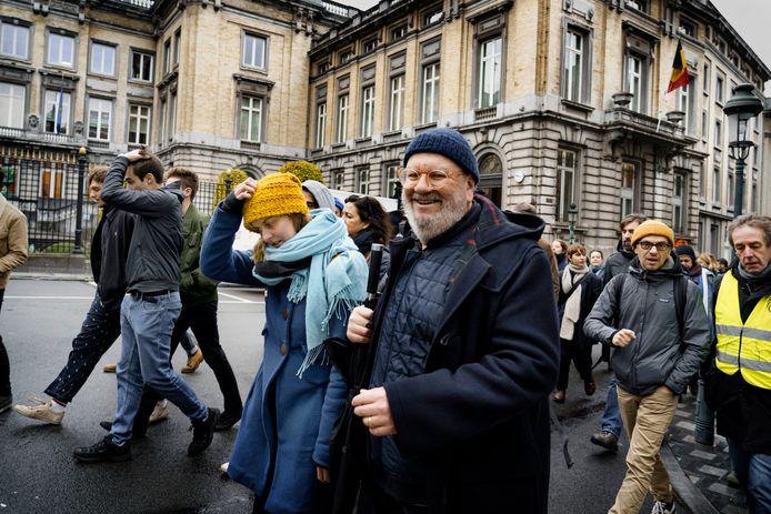 Wim Opbrouck was een van de bekende gezichten tijdens het protest van de cultuursector tegen de besparingsplannnen van minister Jan Jambon eind vorig jaar.