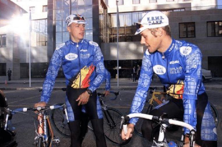 Kevin De Weert en Tom Boonen op het WK in Lissabon voor junioren (2001).