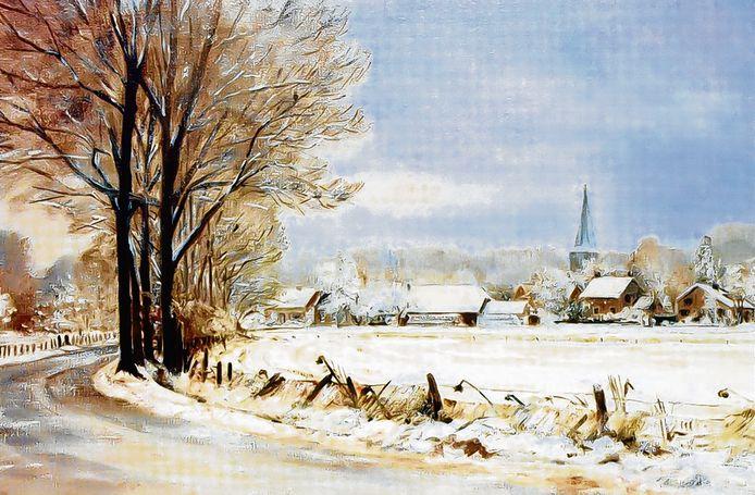 Gezicht op Voorthuizen en de hervormde kerk door de schilderes Jopie van Veldhuijsen.