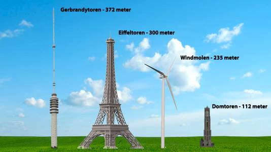 Gerbrandytoren, Eiffeltoren, windmolen en Domtoren.