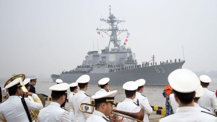 De USS Stethem komt aan in Shanghai. (Archieffoto).