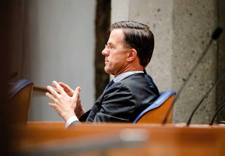 Demissionair premier Mark Rutte tijdens de eerste dag van de Algemene Politieke Beschouwingen. Sinds een maand krijgen de veiligheidsdiensten signalen dat hij een doelwit is voor de onderwereld. Beeld ANP