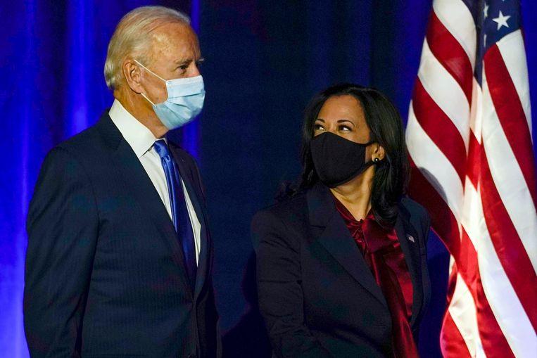 Verkozen president Joe Biden en verkozen vicepresident Kamala Harris. Beeld AP