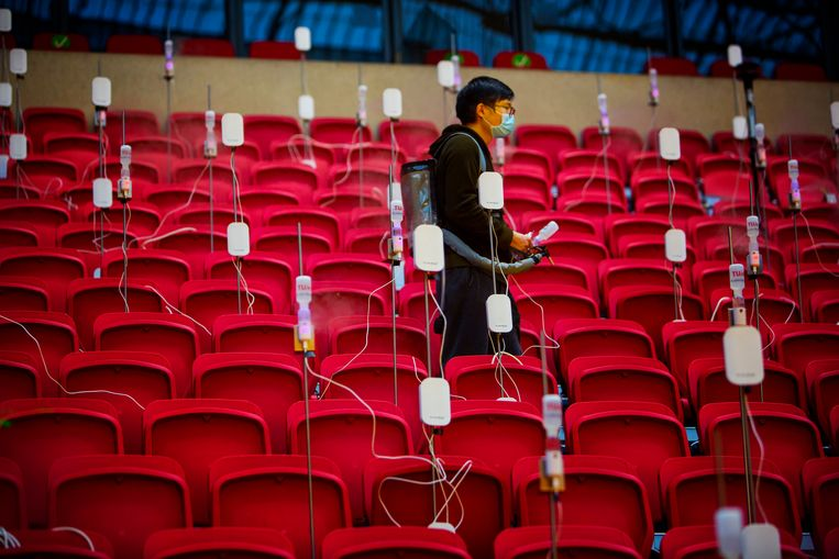 De proefopstelling in de Johan Cruijff Arena.  Beeld Maarten Hartman
