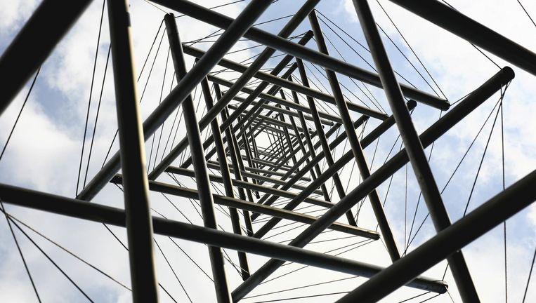 De Needle Tower van Kenneth Snelson: 'Als je er onder staat lijkt het net of je in een gekke wiskundesom bent beland.' Beeld HH