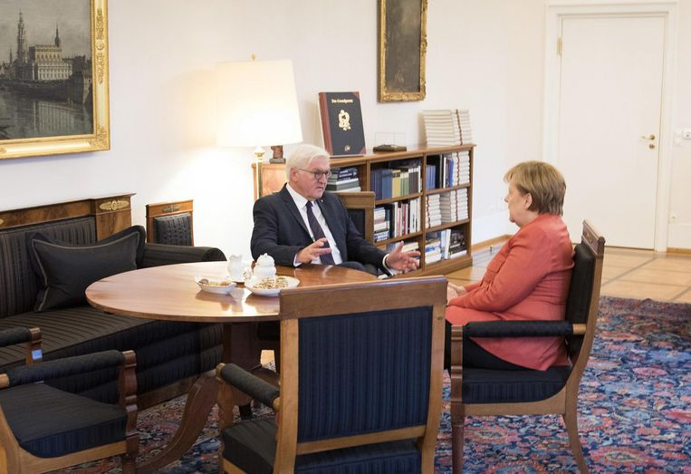 Frank-Walter Steinmeier en Angela Merkel, eerder deze week in slot Bellevue. Beeld AP