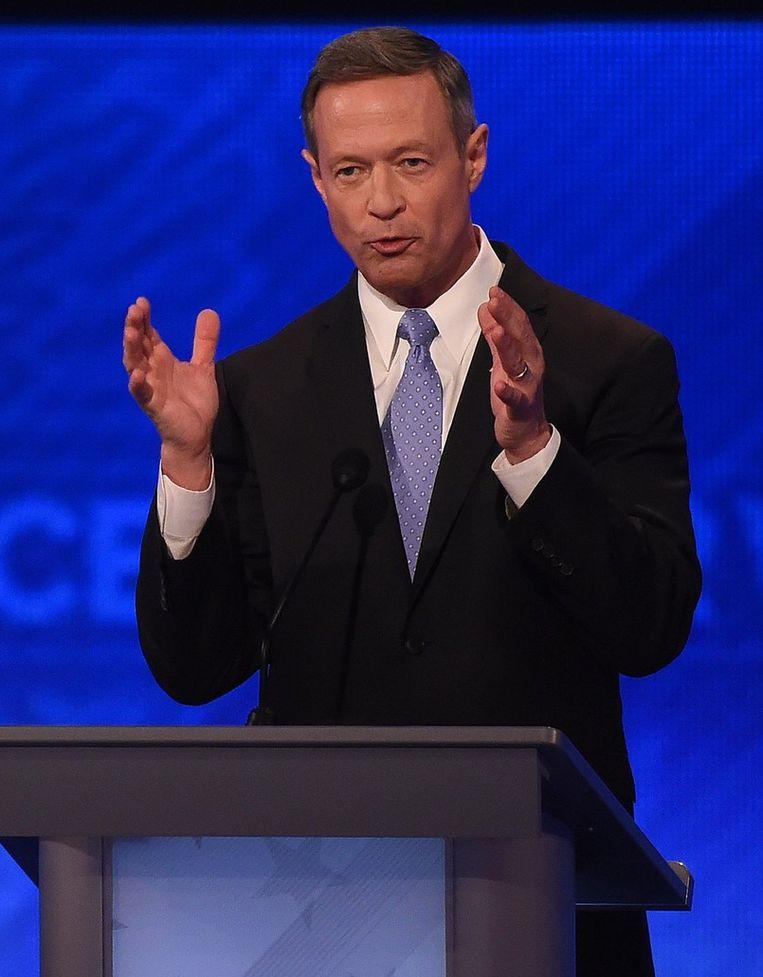 Kandidaat Martin O'Malley tijdens het debat in New Hampshire. Beeld afp