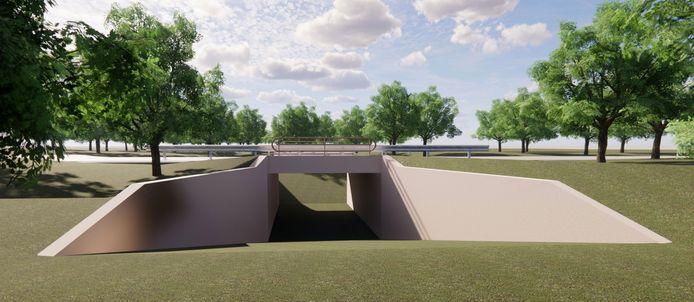 De geplande wildtunnel onder de Somerenseweg tussen Heeze en Someren.