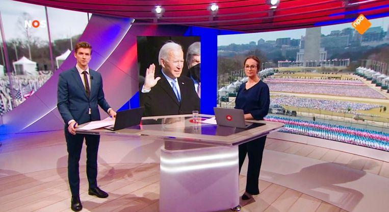 De inauguratie van Joe Biden werd live uitgezonden op de NOS.  Beeld -