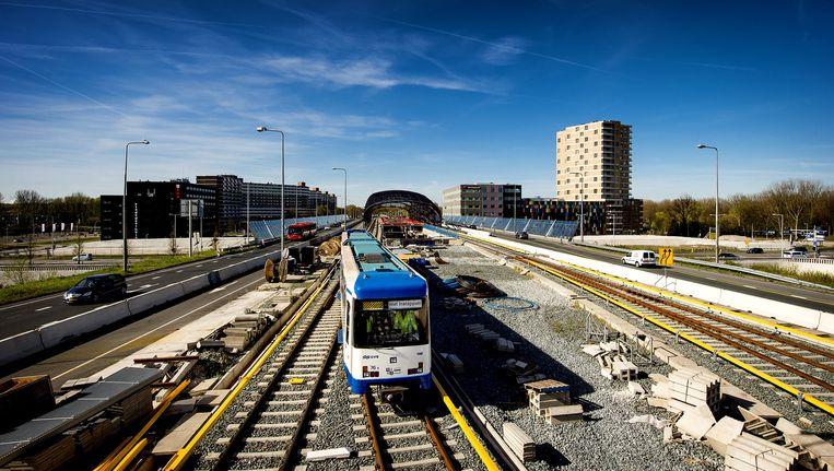 De eerste testrit met een metro vond in maart 2015 plaats op het bovengrondse traject in Noord. Beeld anp