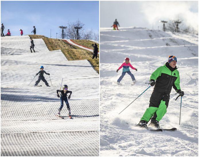 Links: de situatie op de ski-baan in Enschede dit zonnige weekend. Rechts: dezelfde baan tijdens de sneeuw van vorige week.