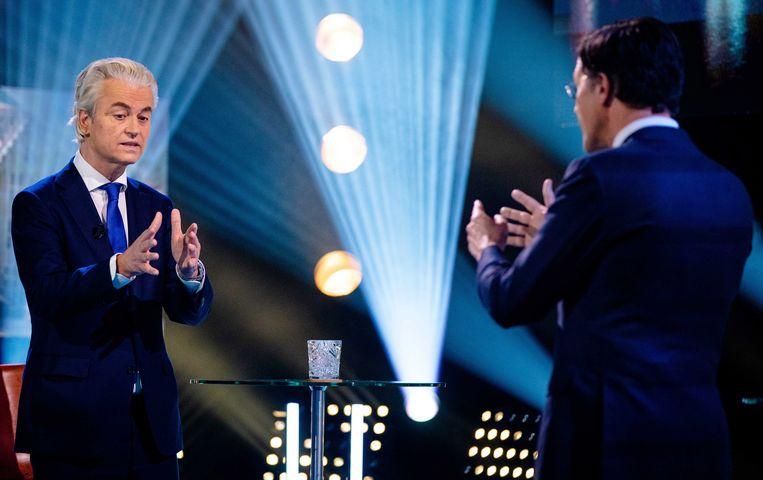 Geert Wilders (PVV) en Mark Rutte in debat deze week.  Beeld EPA