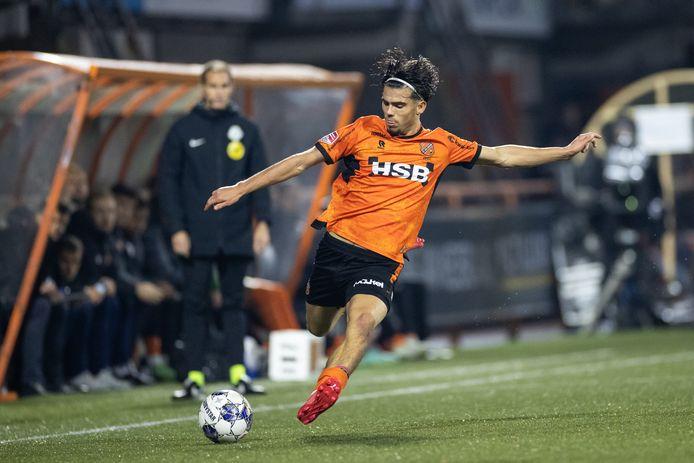 Denzo Kasius legt aan voor FC Volendam in de wedstrijd tegen Almere City FC, twee weken geleden in de Keuken Kampioen Divisie.