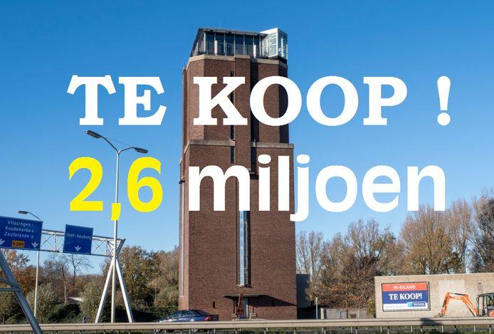 De watertoren in Oost-Souburg staat al maanden te koop.