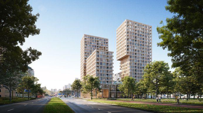 Zo moet het nieuwe Woongebouw Alexandrium aan de Hoofdweg in Rotterdam eruit gaan zien.