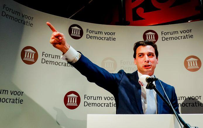Lijsttrekker Thierry Baudet van Forum voor Democratie (FvD).