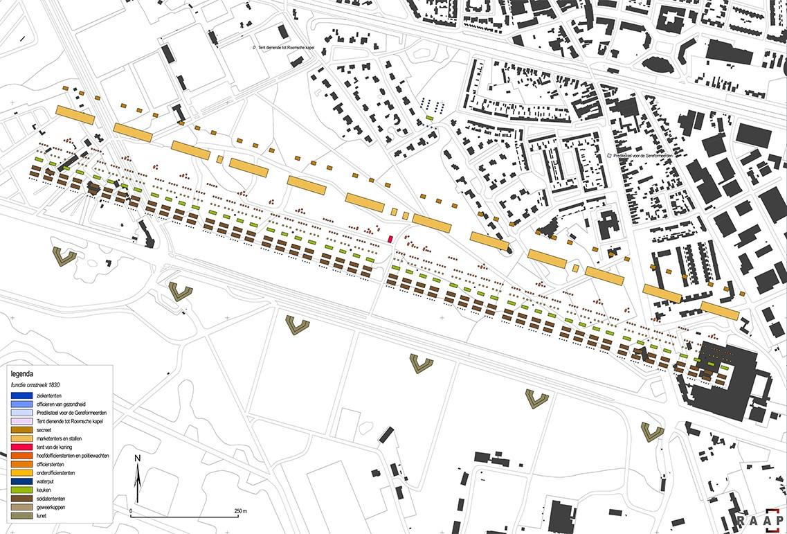 Indeling van het kamp omstreeks 1832, geprojecteerd op huidige topografie