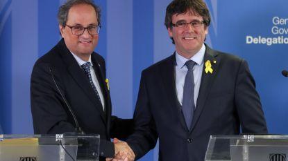 """Catalaanse minister-president Torra: """"We willen de Catalaanse zaak zoveel mogelijk internationaliseren"""". Puigdemont verwelkomd in Waterloo"""