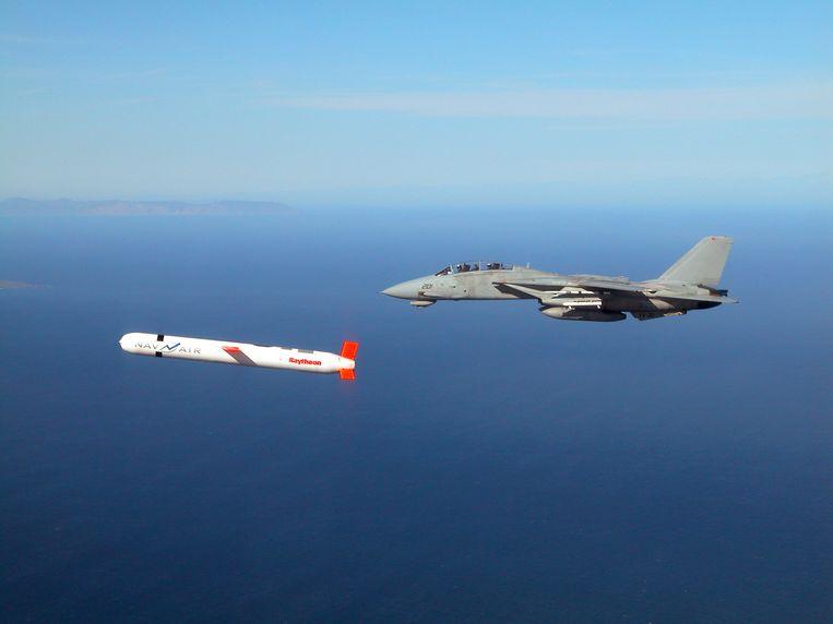 Een Amerikaanse Tomahawk-kruisraket wordt getest in Californië. Iran claimt dat de eigen kruisraketten niet onder doen voor de Amerikaanse. Beeld AFP