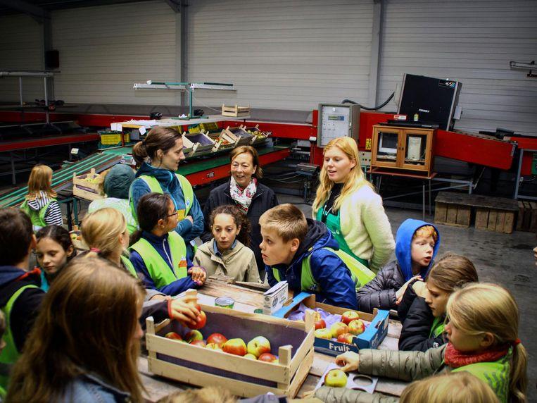 Kinderen bij een krat kraakverse appels.