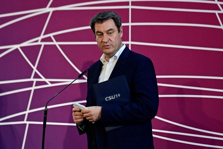De Beierse minister-president Markus Söder (CSU) heeft zich gisteren gemeld als kandidaatopvolger van Angela Merkel. Beeld REUTERS