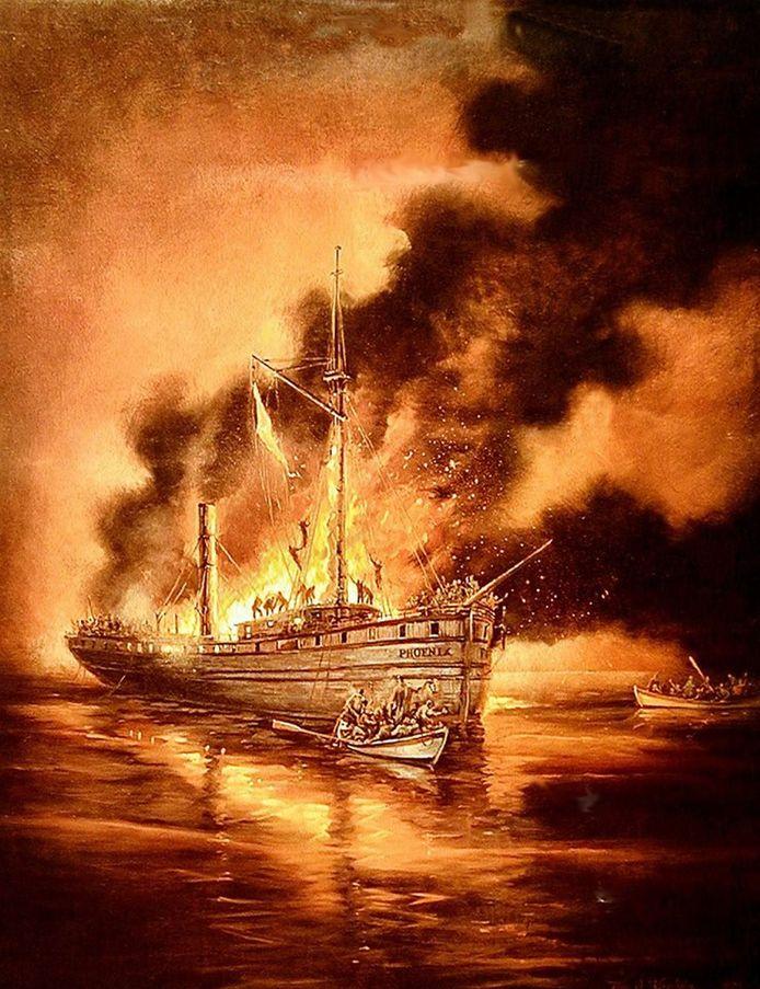 Een geschilderde impressie van de ramp met de Phoenix.