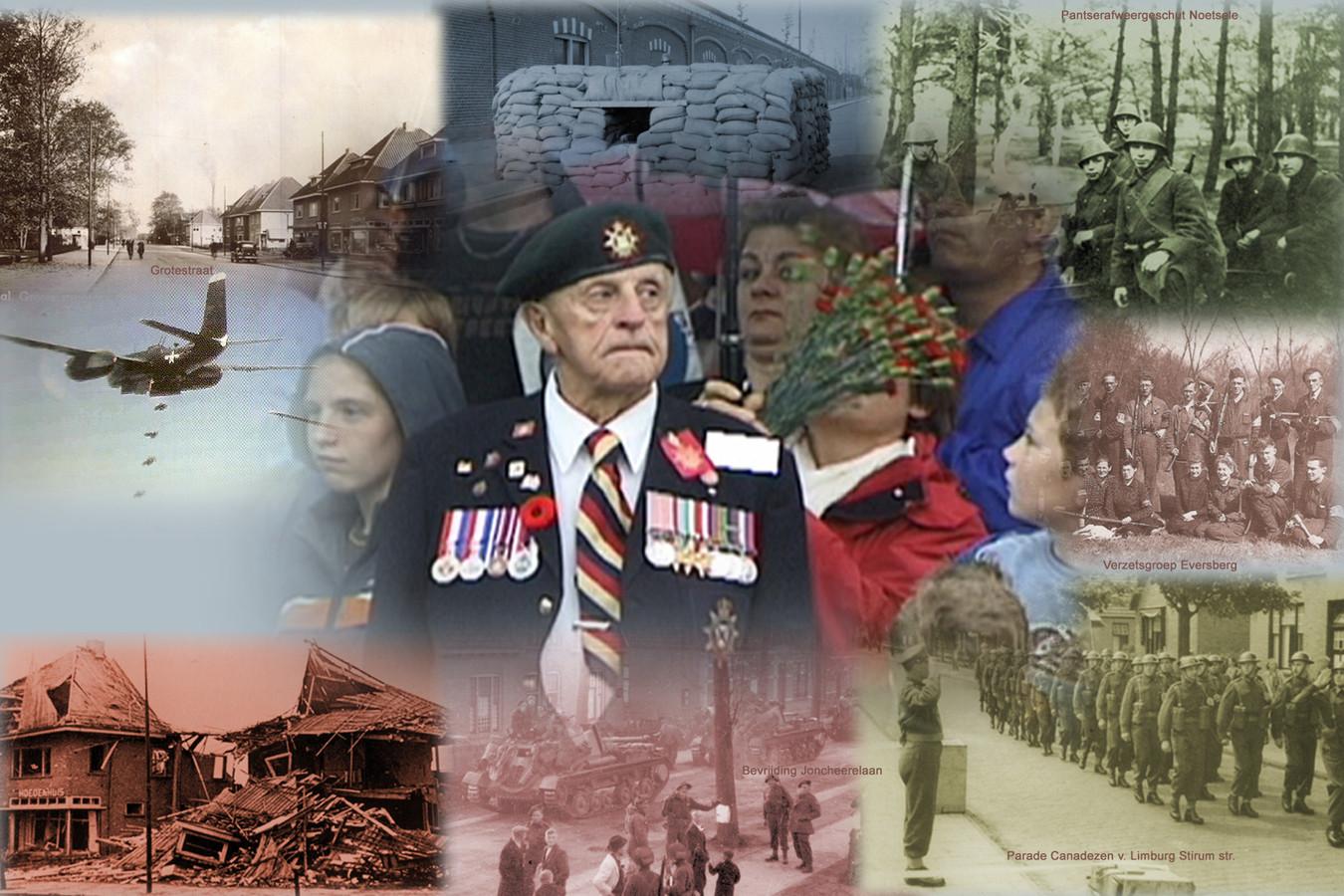 Een collage van Nijverdal tijdens de Tweede Wereldoorlog.
