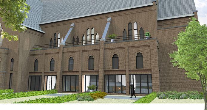Impressiebeeld van de toekomstige linkervleugel van de oude kerk in de wijk Boschweg in Schijndel.