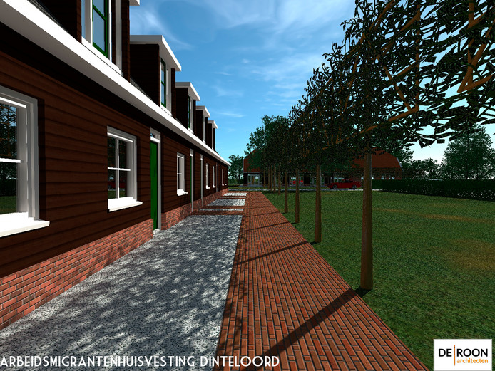 Naast het sportparkje aan de Molenkreek in Dinteloord komt wellicht een woonwijkje voor 250 arbeidsmigranten. De Dorpsraad