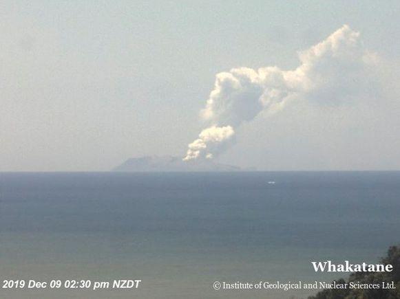 De uitbarsting op White Island.