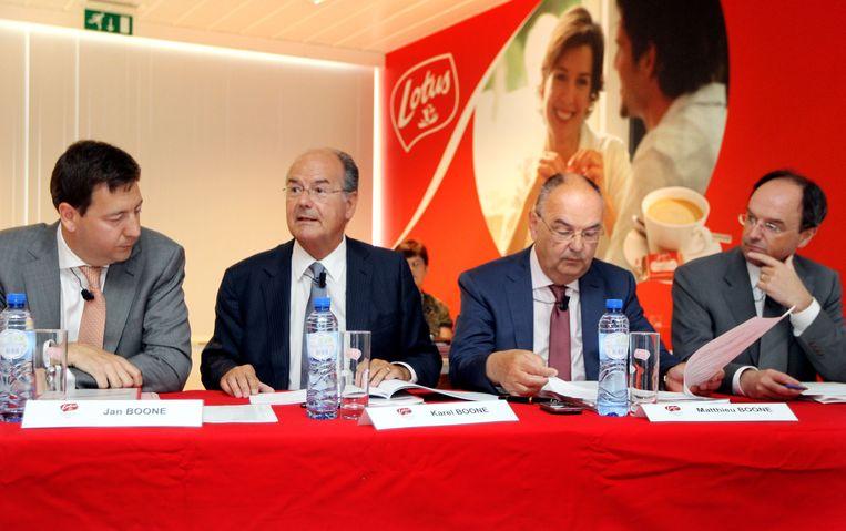 Vlnr.: CEO Jan Boone jr., zijn oom Karel Boone, zijn vader Matthieu Boone en zijn aangetrouwde neef Jan Vander Stichele. Beeld ID / Lieven Van Assche