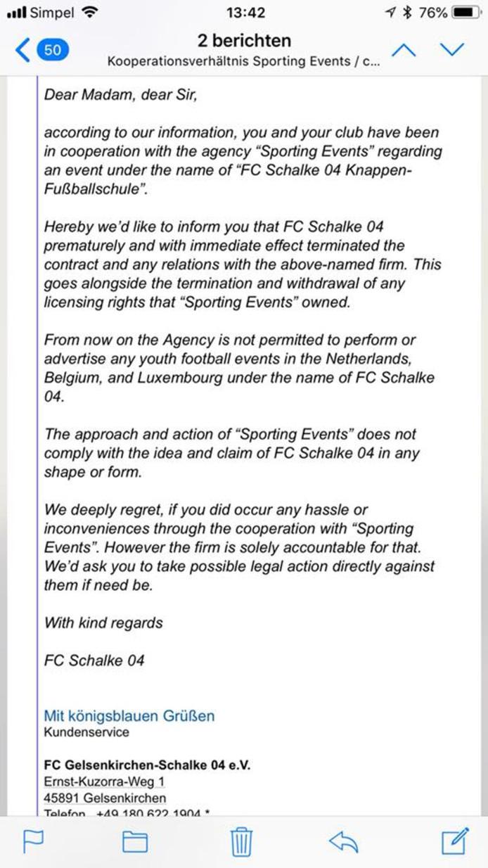 De reactie van Schalke die gedeeld wordt op Facebook