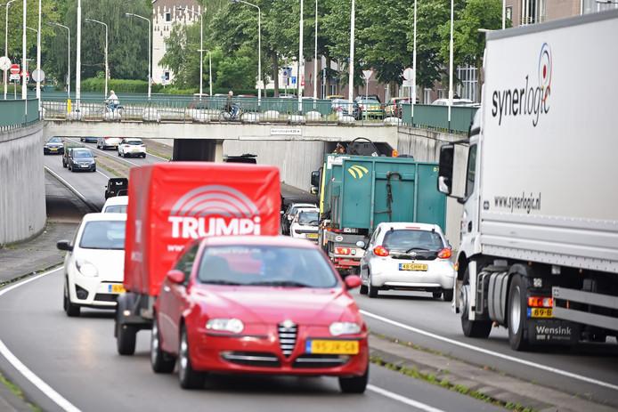 Verkeersdrukte op de zuidelijke rondweg in Breda