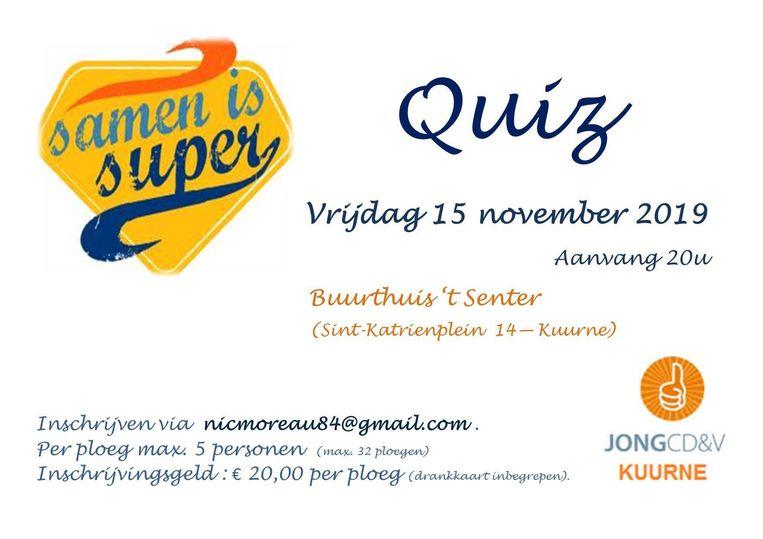 Op vrijdag 15 november om 20 uur staat de 'Samen is Super'-quiz gepland in buurthuis 't Senter op het Sint-Katrienplein.