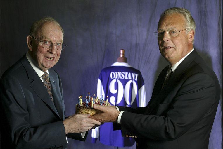 Constant Vanden Stock bij de viering van zijn 90ste verjaardag met zoon Roger.