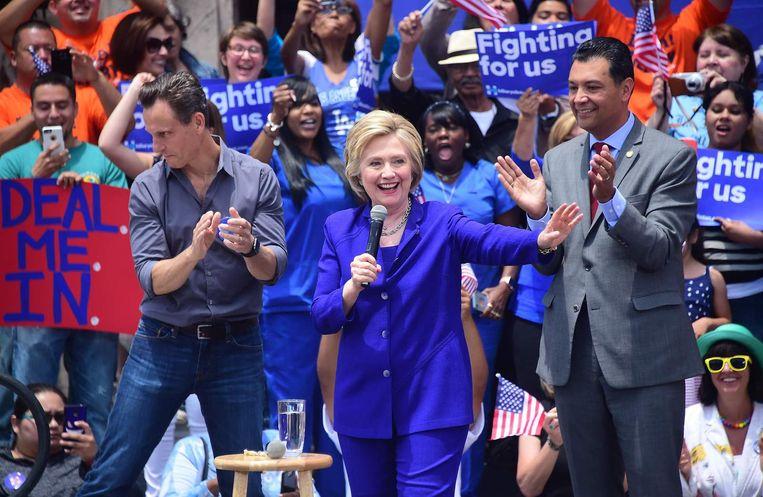 Hillary Clinton bij een campagnebijeenkomst in Californië. Beeld ap