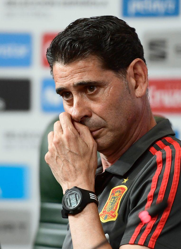 Kersvers bondscoach Fernando Hierro moet Spanje in allesbehalve ideale omstandigheden naar toernooiwinst leiden. Beeld AFP