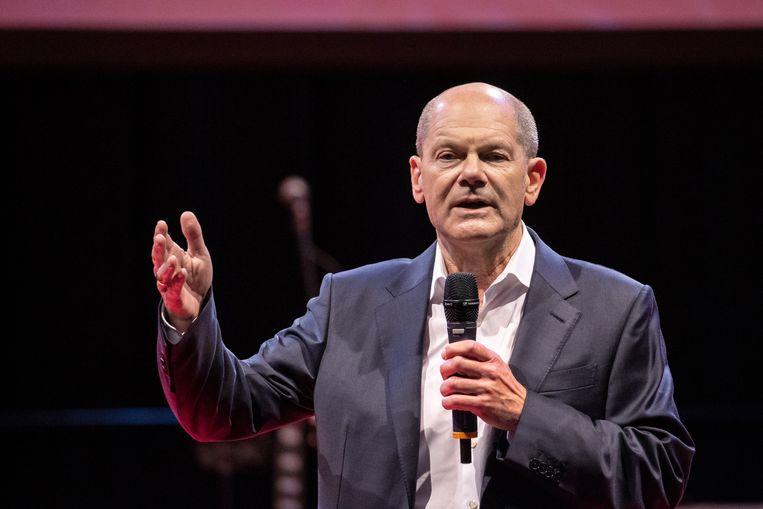 Olaf Scholz, de bondskanselierskandidaat van de sociaaldemocraten (SPD). Beeld Daniel Karmann/dpa
