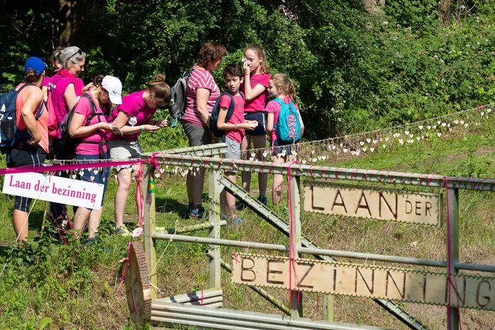 Bij de Laan der Bezinning konden deelnemers aan de wandeltocht de naam van een overleden geliefde op een houten hartje schrijven en deze ophangen langs de route.