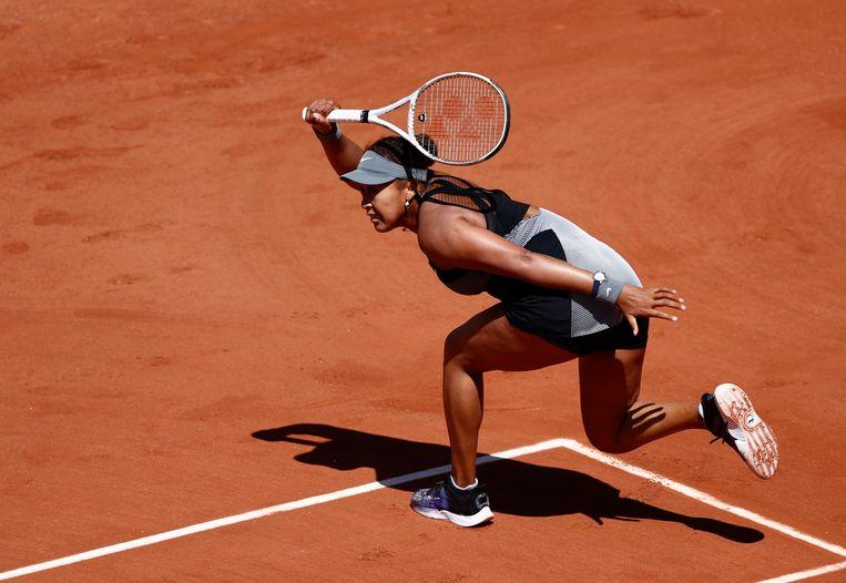 Naomi Osaka tijdens haar gewonnen partij tegen Patricia Tig. Beeld Reuters