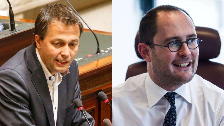 Egbert Lachaert en Vincent Van Quickenborne (Open VLD) Beeld Belga/Bas Bogaerts