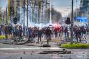 Rellen in Eindhoven na uit de hand gelopen demonstratie tegen de coronamaatregelen.