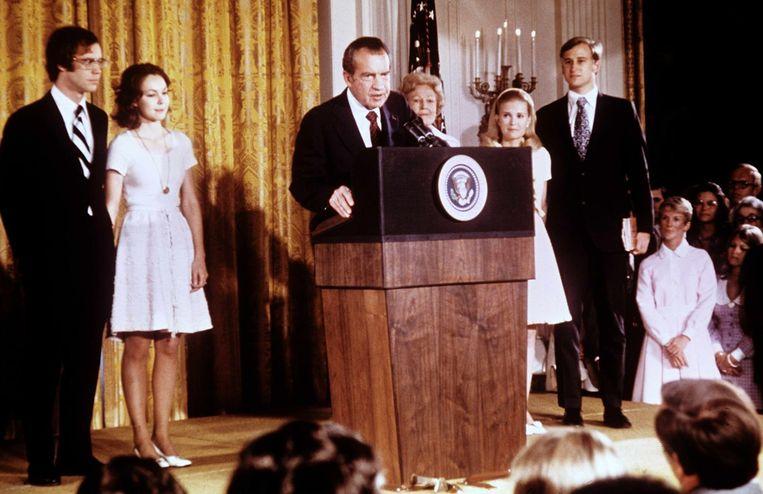 De afscheidsspeech van Nixon voor de medewerkerse van het Witte Huis. Beeld EPA