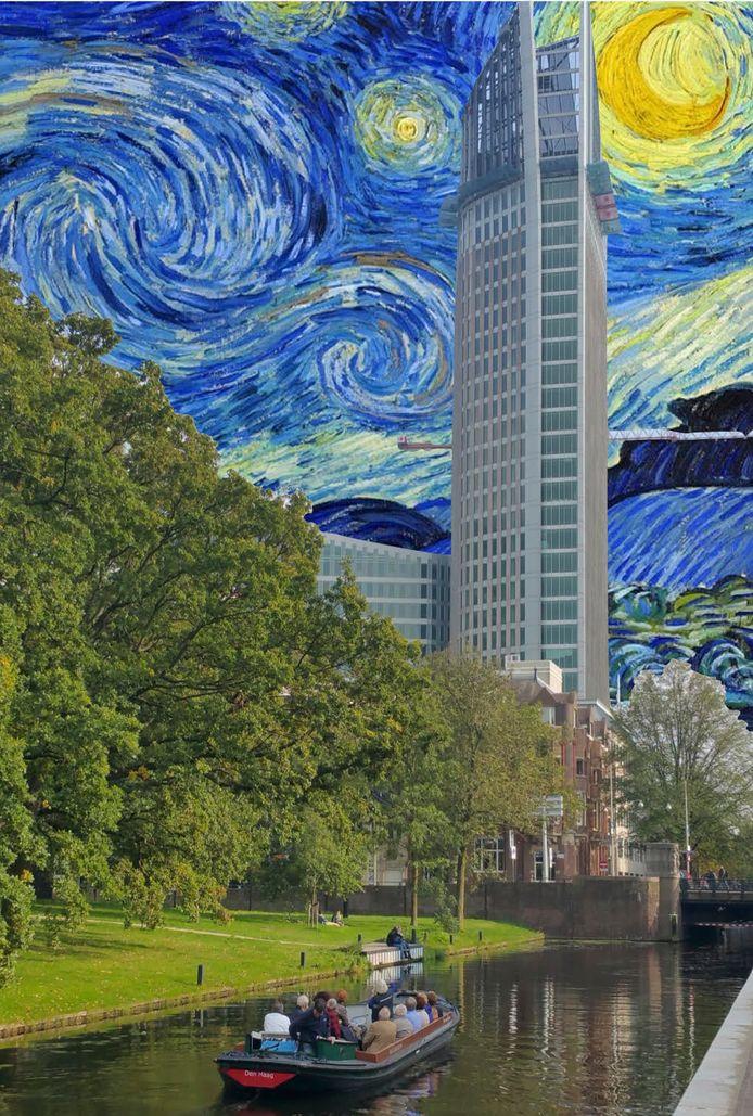 Promotieplaat over het vaararrangement 'in het kielzog van Van Gogh' door Den Haag.